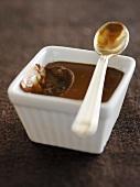 Pot de crème (Chocolate cream in a square ramekin)
