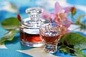 Cornel cherry liqueur in decanter and glass
