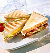 Grilled cheese sandwich and BLT sandwich