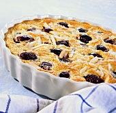 Cherry pudding with slivered almonds