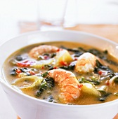 Creole prawn and vegetable soup with coconut milk