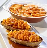 Stuffed sweet potatoes and sweet potato gratin