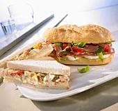 Tuna sandwich and Parma ham and mozzarella sandwich
