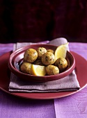 Lemony chicken balls with pistachios (Arab cuisine)