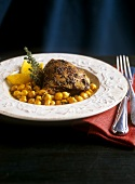 Chicken leg with saffron and chick-peas (Arab cuisine)