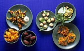 Mezze board: carrot & orange salad, dates, chicken skewers