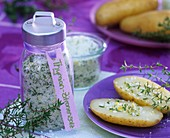 Thyme and lemon salt and potato sprinkled with salt