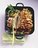 Roast pork with crackling and bay leaves