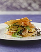 Millefeuille of smoked fish and rocket