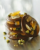 Chocolate biscuits with candied orange peel and nuts