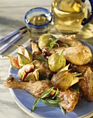 Roast chicken pieces with figs