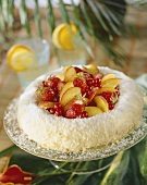 Coconut flan with fresh fruit