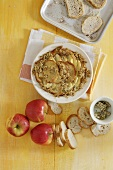 Bread pudding with apples and nuts