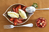 Quark dumplings with strawberry salad