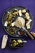 Plate of Middle Eastern appetisers: fried aubergine & hummus