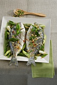 Seabream with spring onions in chilli oil with peanuts