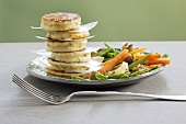 Quark pancakes with vegetable salad