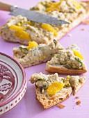 Chick-pea spread on flatbread