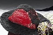 Asian-style marinated tuna with black sesame