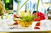 Calamari with salad & risotto in tandoori crust (Seychelles)