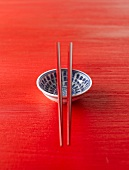 Asian china bowl with chopsticks