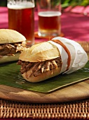 Grilled pork sandwiches on banana leaf