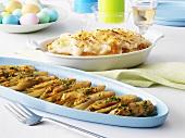 Ostertisch mit Kartoffelpüree und gedünstetem Chicoree