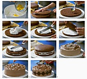 Making chocolate orange cream cake