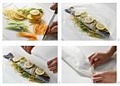 Forelle mit Gemüse in Pergament braten