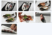 Preparing herb-stuffed trout with ham in parchment