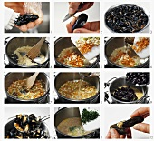 Preparing mussels in white wine