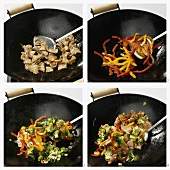 Cooking pork and vegetables in a wok