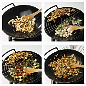 Cooking honey-marinated chicken breast in a wok