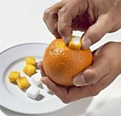 Orangeschale mit Würfelzucker abreiben