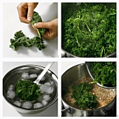 Blanching kale and putting it into a pan