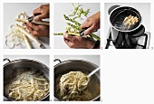 Peeling and cooking asparagus, boiling asparagus peelings