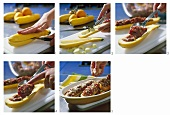 Stuffing yellow courgettes with mince