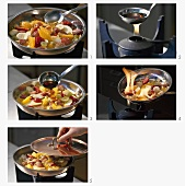 Making flambéed fruit salad