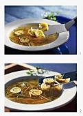 Making Flädlesuppe (pancake soup)