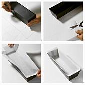 Kastenform mit Pergamentpapier auslegen