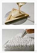 Making a triangular cashew meringue cake
