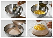 Making a chocolate and mango dome cake