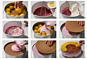 Making a peach torte with blackberry cream