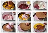 Making a peach torte with blackberry cream