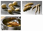 Making deep-fried plaited doughnuts
