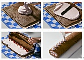 Making chocolate sponge roll with strawberry cream filling