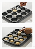 Dusting a muffin tin with flour & filling with muffin mixture