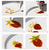 Making a strawberry with fruit puree (plate decoration)