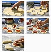 Making small savouries from potato dough