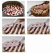 Cranberrykuchen mit Baisergitter zubereiten